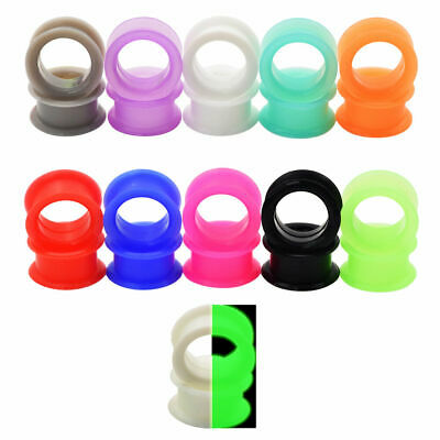 $4.45 • Buy Pair 8g-1  SILICONE EYELET TUNNELS Double Flare Gauges Thin Flesh Ear Plugs 25MM