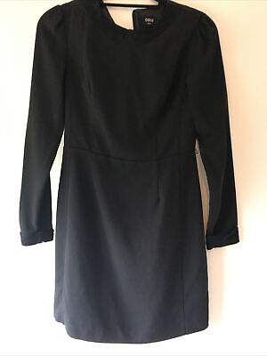 Oasis Size 10 Black Dress With Lace Detailing On Cuffs And Collar Preloved • 20£