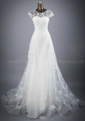 AU361.15 • Buy Ivory Wedding Dress Size 14 A-Line Lace Cap Sleeve UK Callly 798
