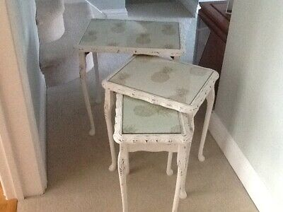 Set Of/Nest Of 3 Tables With Gold Pineapple Print Under Glass • 65£