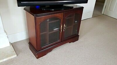 Mahogany Finish TV Cabinet Unit With Shelving And Glass Fronted Doors • 25£
