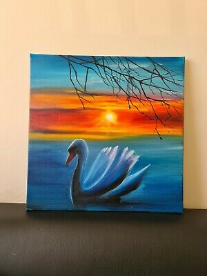 Hand Painted Canvas Oil Painting Wall Art Home Decor Sunset Lake Swan • 50£
