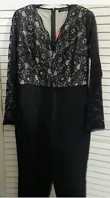 New So Fabulous Black Jumpsuit Lace Top Long Sleeve Side Pockets Size 14 • 3.99£