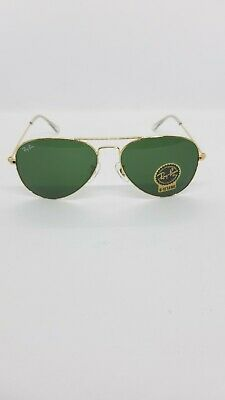 AU88.47 • Buy Ray-Ban Aviator Large Metal RB Gold /Green  3025 55/14/135 Unisex Sunglasses New