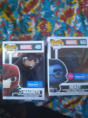Funko Pop Young Magneto 488 & Flocked Beast 643 • 30£