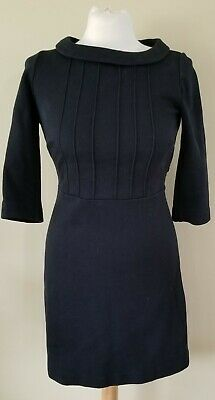 £17.73 • Buy Boden Black Shift Dress Mod Style Jackie O Pintuck Rolled Collar Size 4P