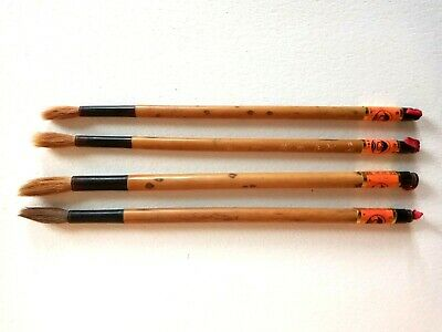 Set Of 4 Vintage Chinese Calligraphy / Ink / Sumi Painting Brushes.  • 12.99£