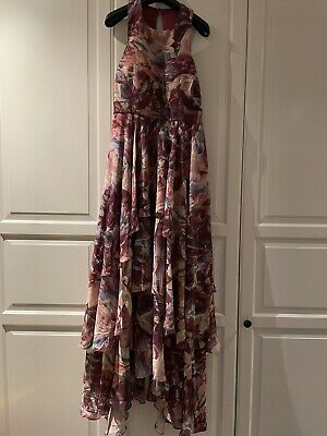 Y.A.S Studio From ASOS Printed High Low Ruffled Tiered Maxi Dress - Size XL • 15.90£
