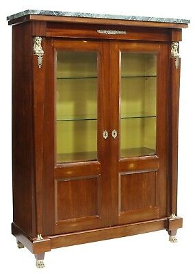 $1491.26 • Buy Antique Vitrine, French Empire Style Marble-Top Mahogany Cabinet, Gilt, 1900's!