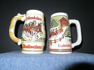 $ CDN12.59 • Buy Budweiser Steins Lot (2) Clydesdales Holiday Ceremarte Brazil No Box Pre-owned
