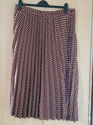 George - Brown & White Polka Dot Pleated Midi Skirt - Size 18 NWT • 8.50£