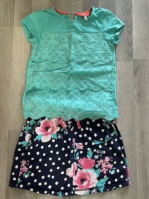 Lovely Girls Joules Green Top And Polka Dot Skirt From George. 6-7 Years • 4£
