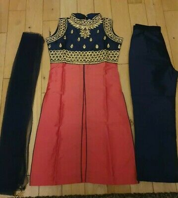 Girls Indian / Bollywood Party/ Wedding Trousers Suit Blue & Coral Size 26 / 6-7 • 25£