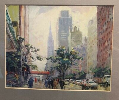 Mounted Art Print  New York  By Chinese Artist Qian Dexiang. Image 25 X 19 Cm. • 29.99£