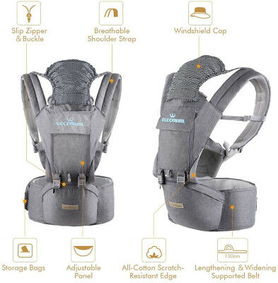 Baby Carrier, Eccomum, Ergonomic Baby Carrier With Hip Seat For 3-36 Month Baby • 34.95£