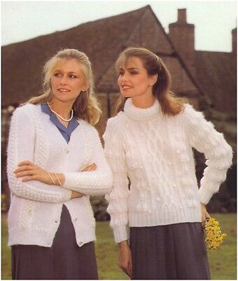 Ladies Mohair Bobble Panel Cardigan PoloNeck Aran-style Sweater KNITTING PATTERN • 3.50£