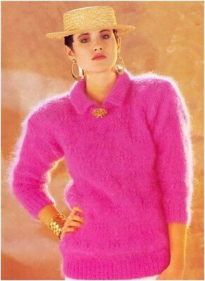 Ladies' Mohair Sweater With Round Neck And Collar Knitting Pattern (NOT GARMENT) • 3.50£
