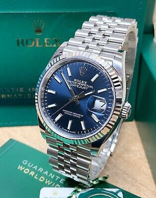 Rolex Datejust 36mm 126234 Blue Baton Dial With Papers 2021 UNWORN • 8,195£