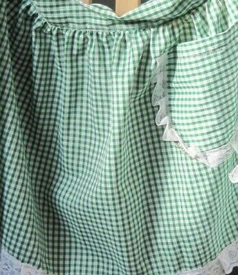 £6.99 • Buy Green And White Gingham Design Half Apron / Pinny