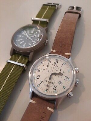 $ CDN62.02 • Buy Lot Of 2  MENS TIMEX Mk1 CAMPER LEATHER & NATO BAND INDIGLO WATCHES