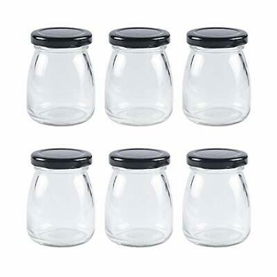 6pcs 100ml Clear Glass Bottles With Pretty Black Lids Small Glass Jars • 14.40£