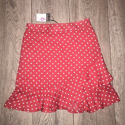 Primark Red And White Frill Polka Dot Crossover High Waisted Skirt Size 6 BNWT • 0.90£