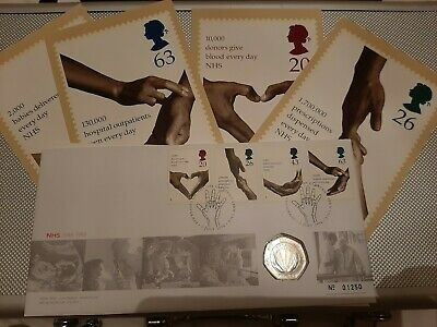 1998 Nhs 50p Coin Cover Royal Mint Mail 50 Pence Stamps Postcards Uncirculated • 20£