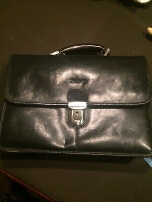 Woodbridge Leather Laptop Work Briefcase Black Bag • 20£