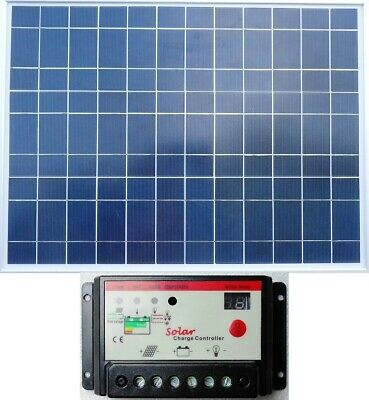 50w PV Solar Panel C/w 2m Cable + 10A Auto PWM Charger Controller UK Stock • 23£