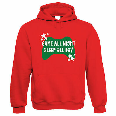 Game All Night Sleep All Day, Hoodie -  Game Controller Gift • 24.99£