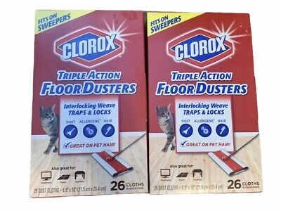 (2) NEW Clorox Triple Action Floor Dusters 26 Count Box Large Cloths 8.5  X 10  • 19.97£