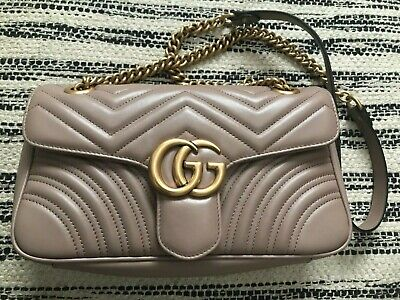AU1355 • Buy Gucci GG Marmont Matelasse Shoulder Bag Small Size In Dusty Pink Chevron Leather