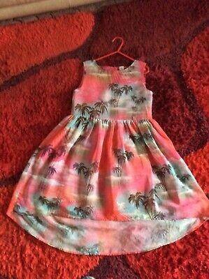 Girls Tu Pink High Low Party Dress With Palm Tree,s Vg Used Cond(6) • 6.99£