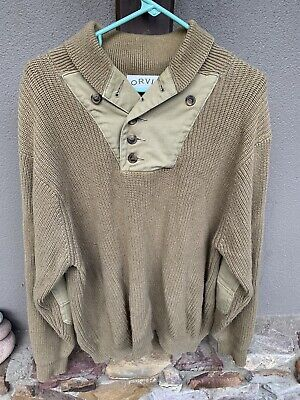$27.20 • Buy ORVIS Knitted Sweater Military Pullover Collar Men's Sz L Elbow Patches EUC