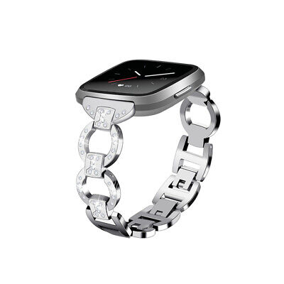 $ CDN14.03 • Buy Stainless Steel Strap For Fitbit Versa Watch Band Bling Chain Rhinestone Diamond