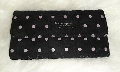 $ CDN15.13 • Buy Kate Spade Medium Slim Trifold Wallet- Black & Purple Polka Dotted-Slightly Used
