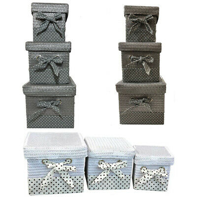 SET OF 3 Storage Baskets Resin Woven Hamper Box Lid For Home And Gift • 17.99£