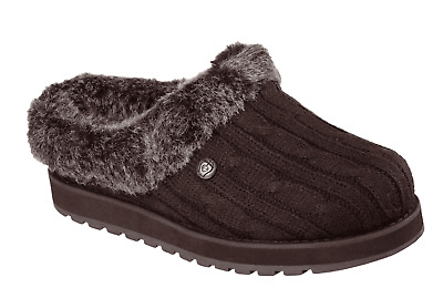 Womens Skechers Bobs Keepsake Ice Angel Warm Comfort Memory Foam Slippers Brown • 35£