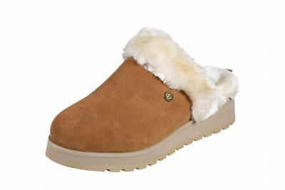Womens Skechers Bobs Keepsake Snow Magic Warm Comfort Memory Foam Mules Chestnut • 35£