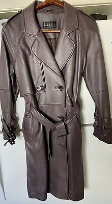 $149 • Buy Nicole Miller Collection - Leather Trench Coat - Eggplant Color -Size M