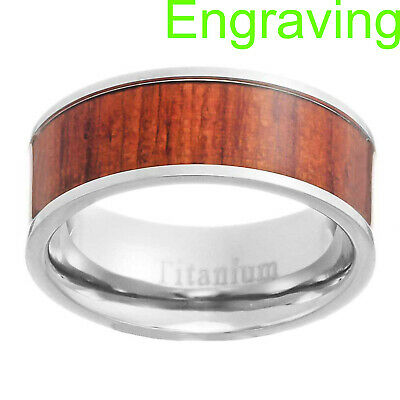 $12.99 • Buy 8mm Eternity Red Brown Wood Inlay Titanium Band Men Wedding Ring Size 8-13