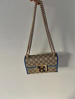 AU687 • Buy Gucci Chain Bag Blue Gold Pink
