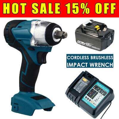 For MAKITA 18V Cordless Brushless Impact Wrench 1/2  Driver+Battery+Charger • 79.66£