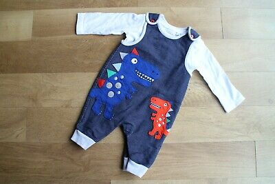 Debenhams Bluezoo Baby Dungaree Suit, 0-3 Months, Dinosaurs, White Top, Blue • 0.99£