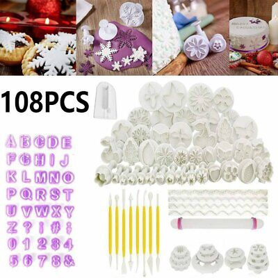 108X Fondant Cake Decorating Pastry Plunger Cutter Tool Flower Letter Mold Mould • 16.90£