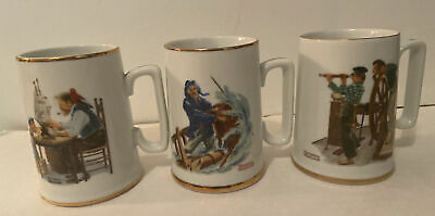 $ CDN10.72 • Buy Set Of 3 Vintage 1985 Norman Rockwell Museum Collection Coffee Cups Mugs