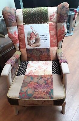 £350 • Buy Vintage Wing Back Armchair In Patchwork Shabby Chic Style