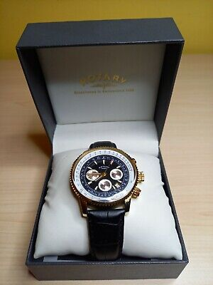 Rotary Men's Chronograph Black Leather Strap Watch • 19£