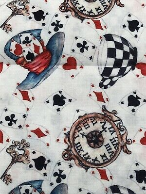 """Alice In Wonderland Drink Me White Poly Cotton Fabric 18"""" X 20"""" (1/4 Yard) • 5.06£"""