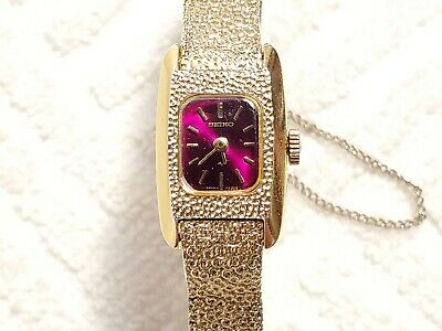 $ CDN25.25 • Buy Vintage Seiko Wind Up Watch Seventeen Jewels Red Dial Gold Tone Women's